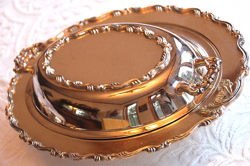 Silverplate Oval Covered Serving Dish~ Scroll
