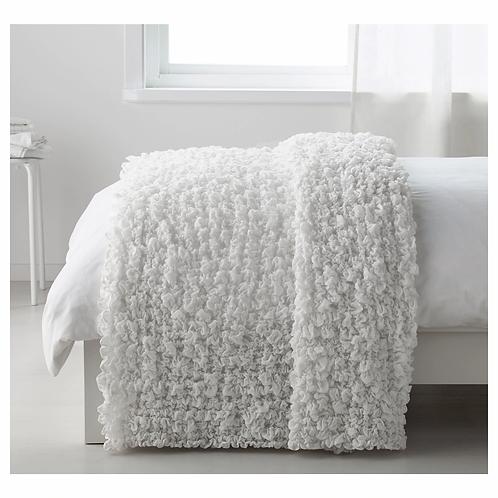 """IKEA """"OFELIA"""" White Super Soft Crinkled Throw Blanket 51"""" x 67"""" Scrunch Afghan"""