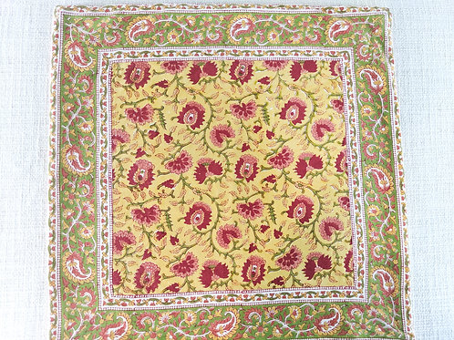"""Pottery Barn Block Print Pillow Floral Yellow Red 20"""""""