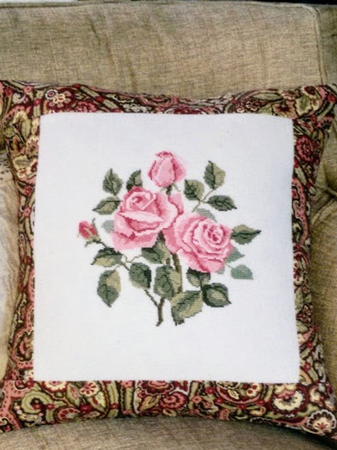 Unique Pillow~Handmade~Cross Stitched Roses