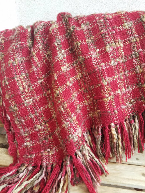 Throw Blanket Knitted Red Multi Color Fringed