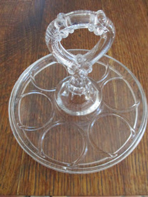 Vintage Glass Caddy Tray Center Handle