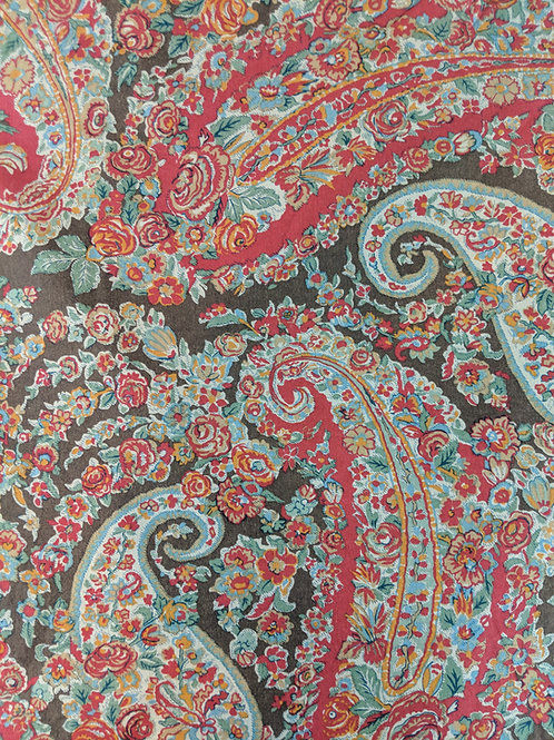 Pottery Barn King Duvet Cover Carrie Boho Brown Red Paisley Floral