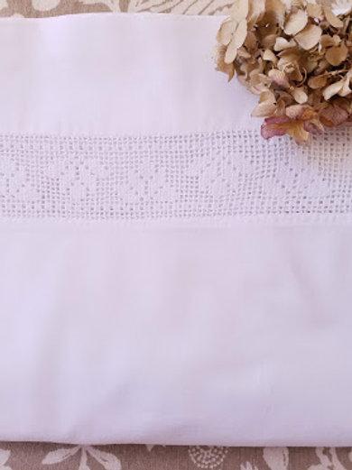 Vintage White Flat Sheet Crochet Insert Full Size