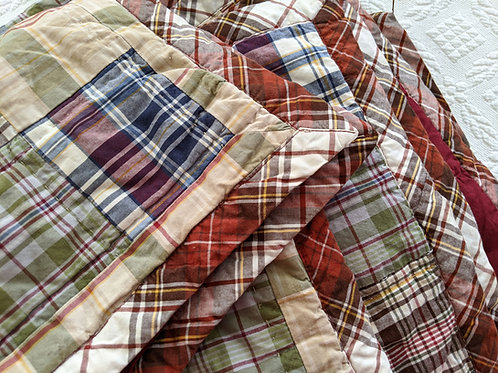 Woolrich Twin Patchwork Plaid Quilted Coverlet and Sham