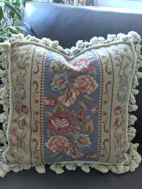 "Aubusson Needlepoint Blue Rose Pillow French Decor 16"" Down Insert"