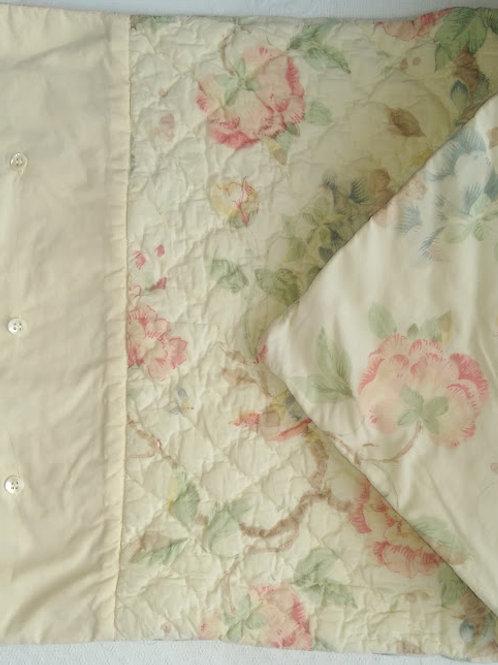 Quilted Std. Sham~Floral & Birds~Soft Colors~Cotton