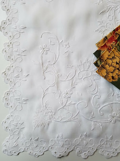 "White Hand Embroidered Ornate Tablecloth 26"" x26"""