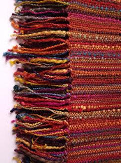 Crate&Barrel Throw Mendocino Paprika Jewel Knit Fringed