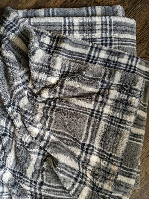 Minky Couture Monster Urban Plaid Gray Blanket