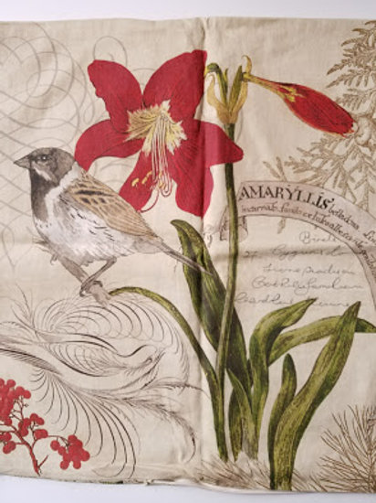 Pottery Barn Decoupage Amaryllis Bird Euro Pillow