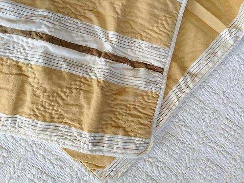 Restoration Hardware Sham  Quilted Gold Tan White Striped Standard