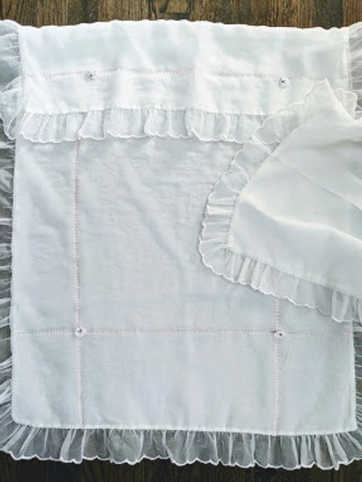 Antique Sheer Embroidered Pram Crib Nursery Cover Pillow