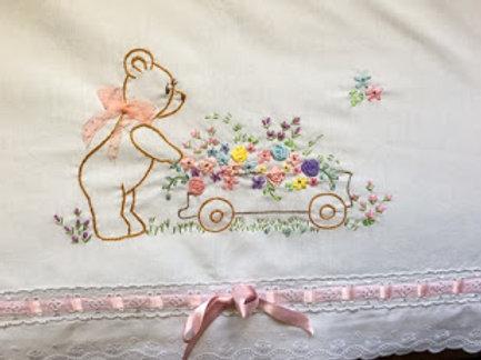 Baby Sheet Embroidered Sweet Bear w/ Flower Cart