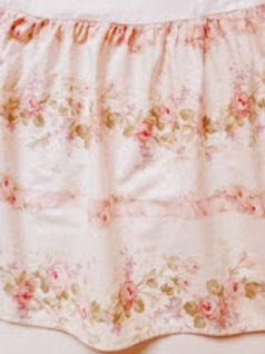 Crib Skirt Floral Cottage Pink Cotton