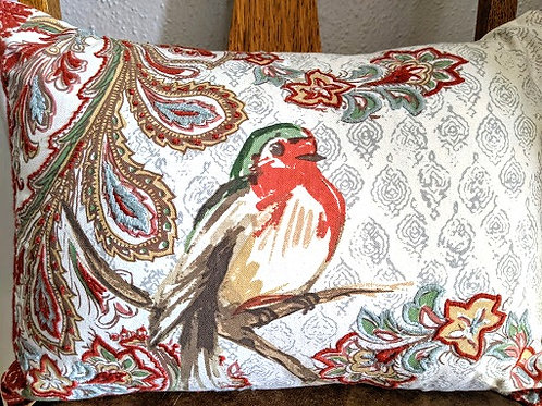 Pottery Barn Bird on Branch Embroidered Lumbar Pillow