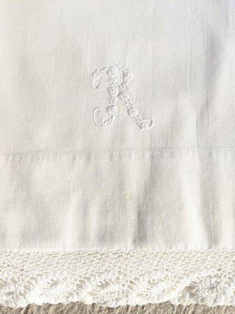 Vintage Full Sheet Crochet Trim Monogrammed Floral R