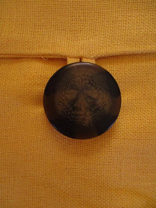 Pottery Barn Linen Yellow Pillow~Button