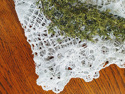 Antique Tablecloth White Crocheted 48 x 70