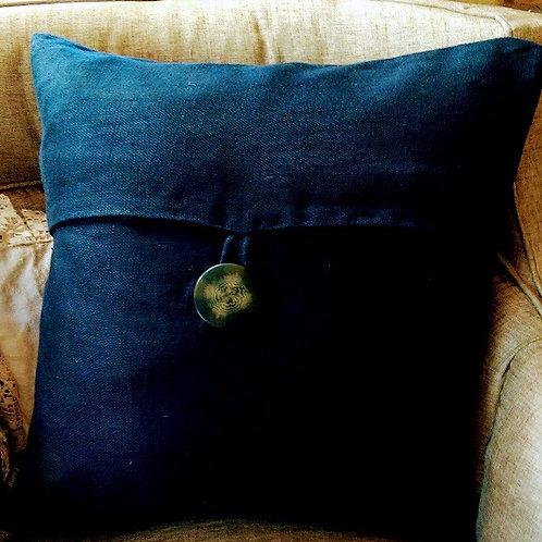 "Pottery Barn Navy Pillow~Button~19"" x 18"""