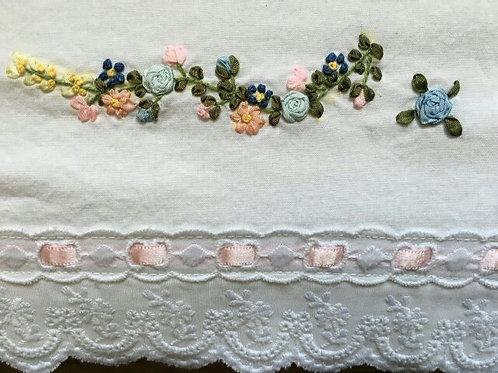 Baby Crib Sheet Satin Ribbon Embroidered Flowers