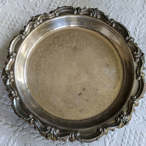 Bristol Silverplate by Poole Round Footed Serving Tray Shells EPCA 85