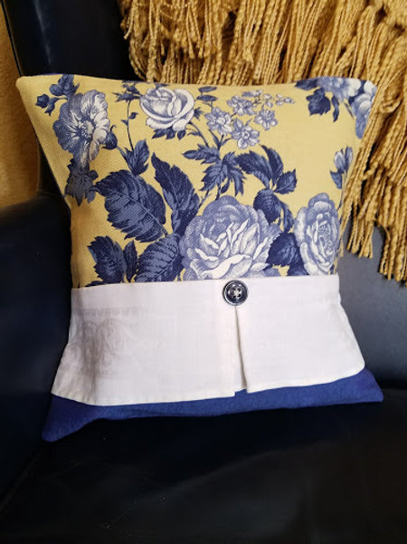 Toile Pillow Vintage Fabrics Yellow Blue Floral