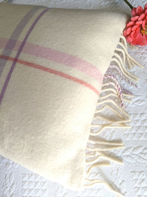 Johnstons of Elgin Lambswool Pillow Fringe Cream Purple Pink