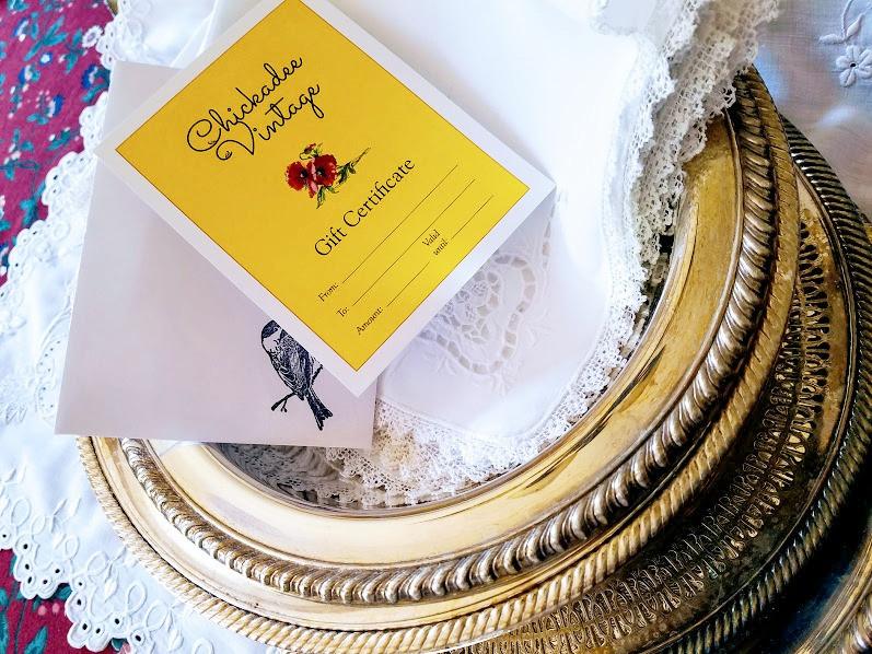Chickadee Vintage Gift Certificate