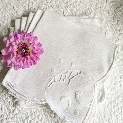 Linen Luncheon Napkins White Embroidery Set of 6