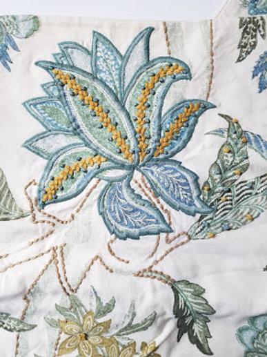 Pottery Barn Std. Shams~Floral~French Knots Blue Gold