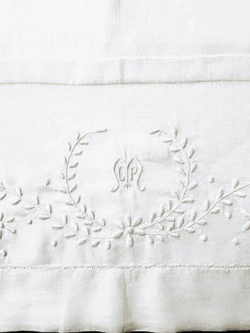 """Vintage Linen Sheet Monogram """"LMP"""" Full Size Embroidered"""