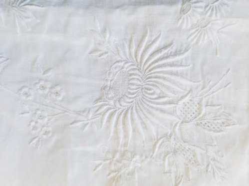 Linen White Work Tablecloth Floral Embroidered Rice Linen
