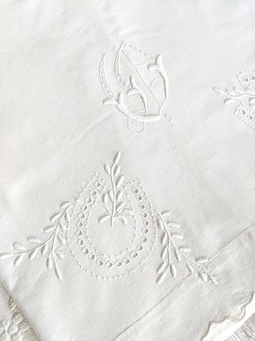 Vintage Narrow Sheet Flat Floral Embroidery White on White