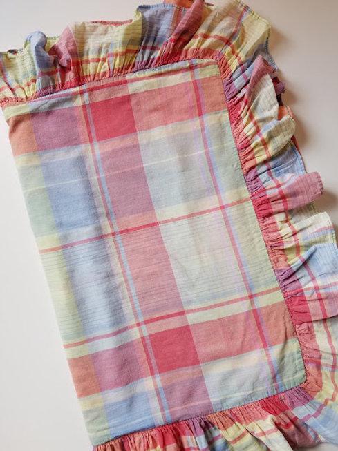 Ralph Lauren Spinnaker Standard Madras Plaid Ruffle Pillow Sham