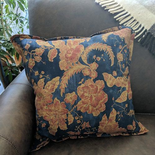 "Ralph Lauren Indigo Bali Navy Rust Print Throw Pillow 18"""