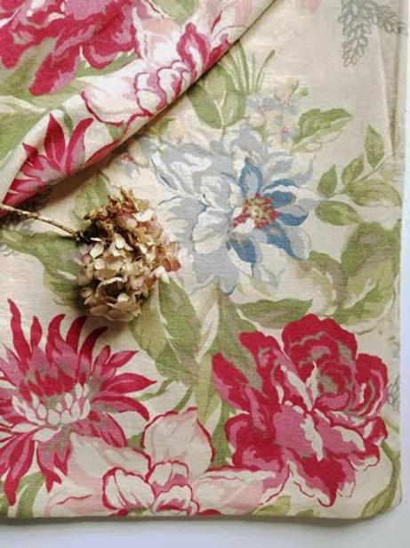 Pottery Barn Duvet Cover Full Queen Linen Cotton Roses Iris