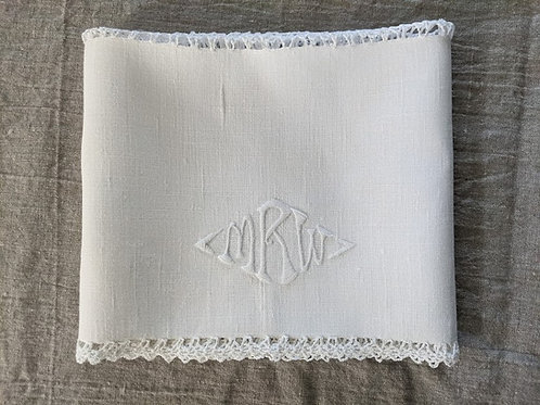 Antique White Embroidered Dresser Scarf Monogram MRW