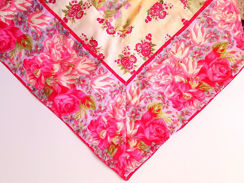 """April Cornell Pink Pillow Cover 23"""" Square Patchwork"""