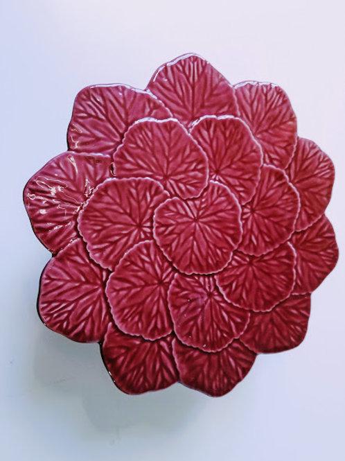 Bordallo Pinheiro Cake Pedestal Red Geraniums