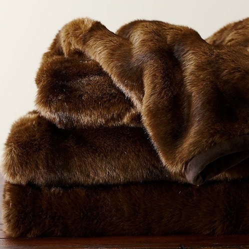 Pottery Barn Faux Fur Warm Soft Blanket Brown Throw