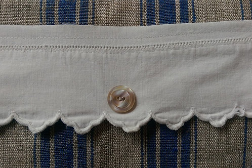 Flax Pillow~Blue/Linen~Vintage Trim/Shell Button