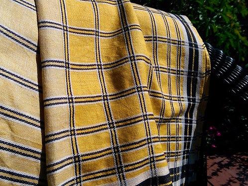 Vintage Plaid Tablecloth~Linen~ Black/Yellow