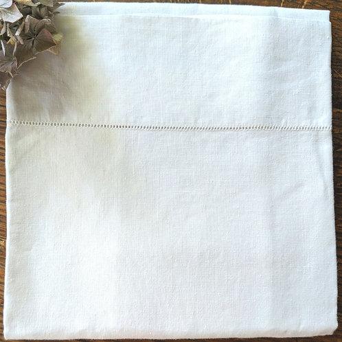 French Linen Pillowcase~White Ladderwork Trim Standard Vintage