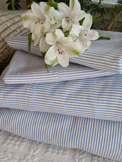 alph Lauren Oxford Menswear Blue White Striped King Sheet Set