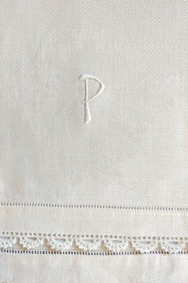 """Linen Towel """"P"""" Monogram Crochet Trim"""