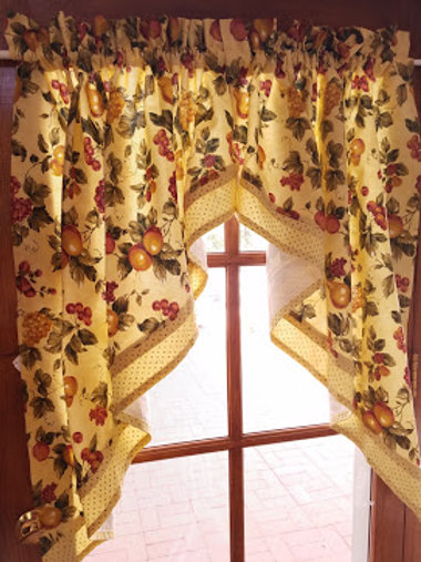 Waverly Swag Curtain Pair Yellow Fruit Dots