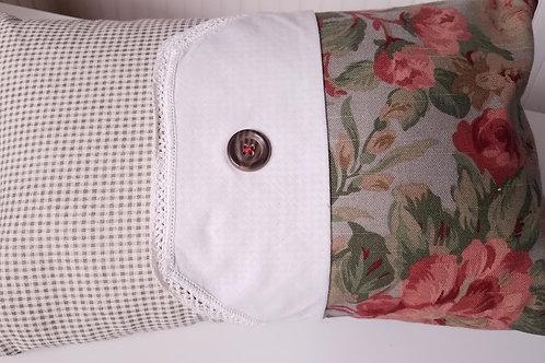 Handmade Pillow~Floral Gingham~Crochet~Button