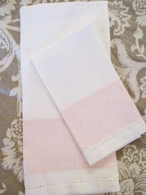 Linen Damask Towel Set Light Pink and Cream Pair