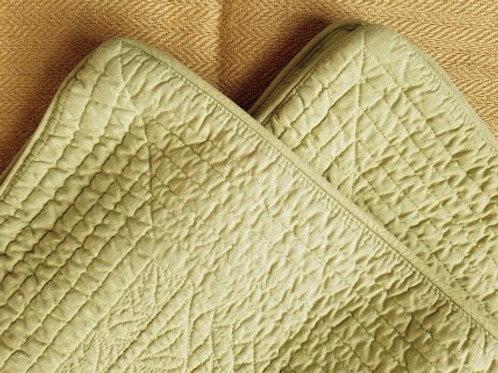 Eddie Bauer Euro Quilted Euro Shams~Green~Linen Cotton